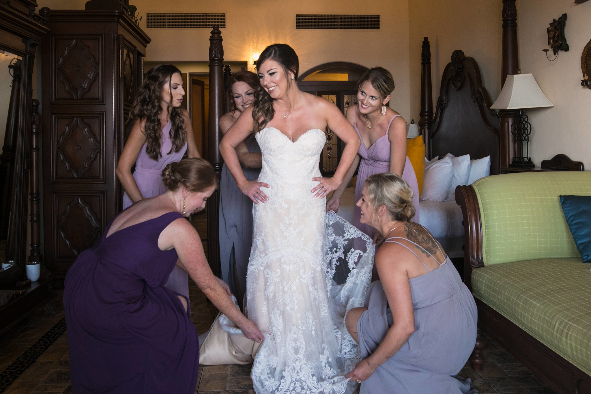 Kara in dress with bridesmaids .jpg