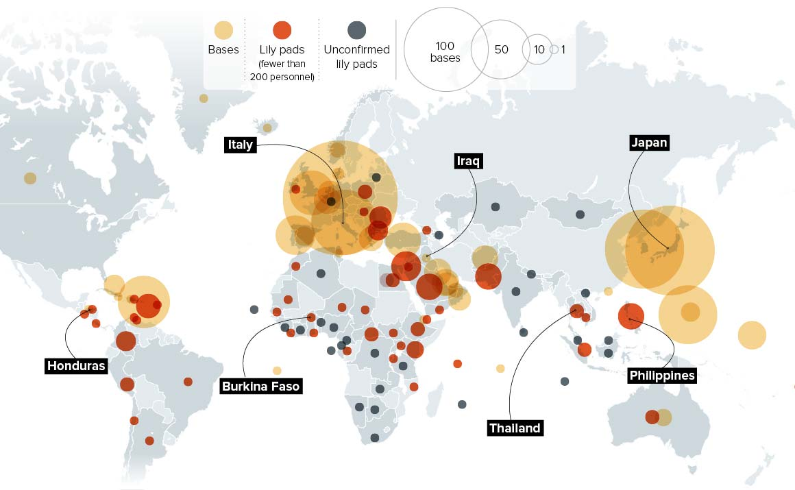Graphic from a 2015 Politico article showing the concentration of US military bases abroad.