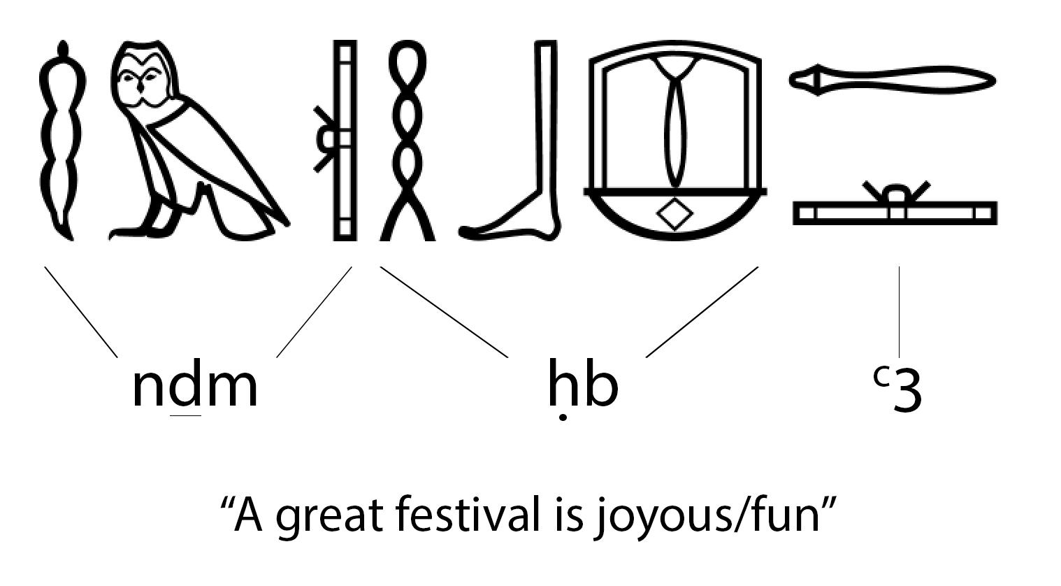 """Hieroglyphics for """"A great festival is joyous/fun"""""""