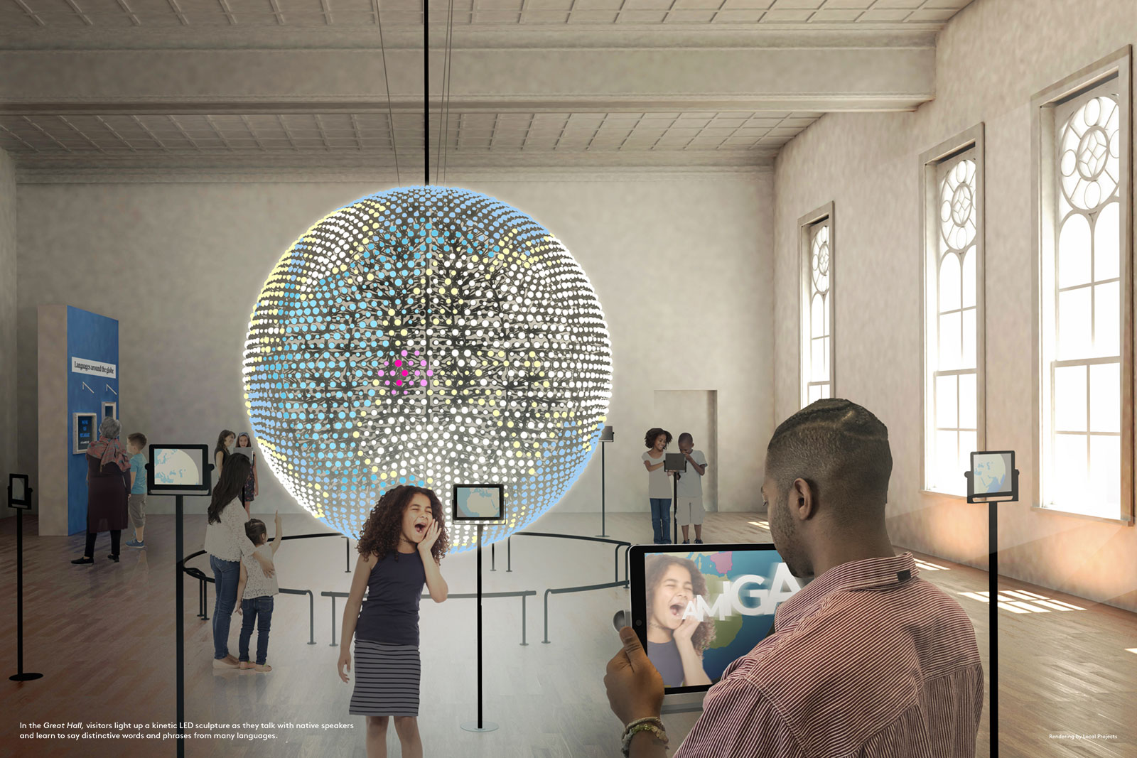 The 12-foot LED globe serves as a centerpiece for The Spoken World.