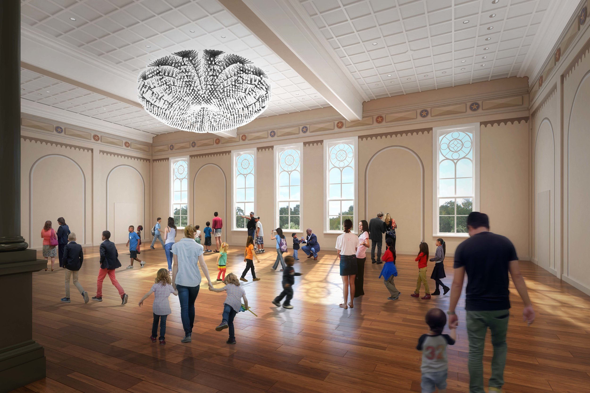 The globe acts as a chandelier, converting the Great Hall into a flexible space for events and programs.