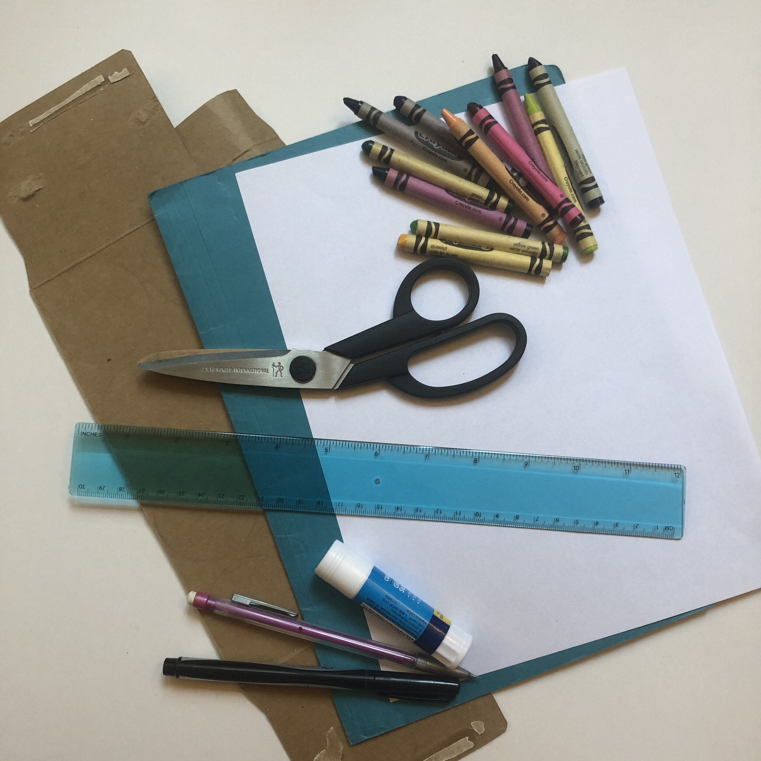 Paper scissors and crayons, supplies