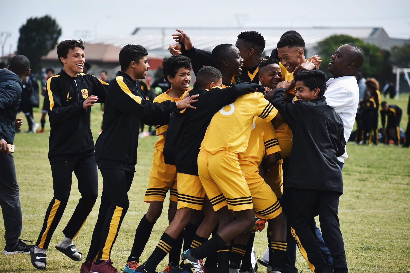 Our u15s celebrate after a huge victory during the knockout rounds at the end of this season.