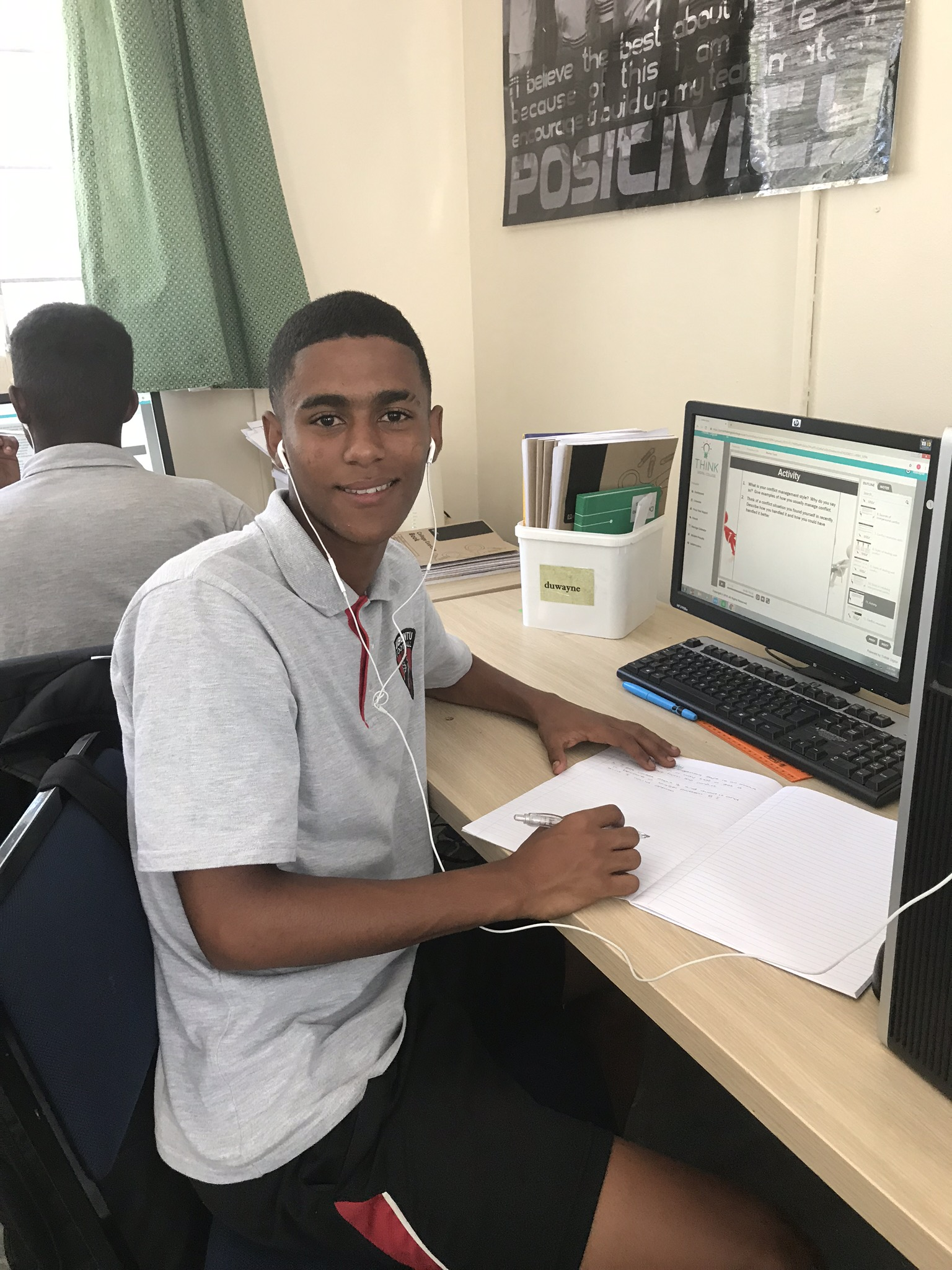Duwayne is in Grade 12 and is studying hard to finish school at the end of the year.
