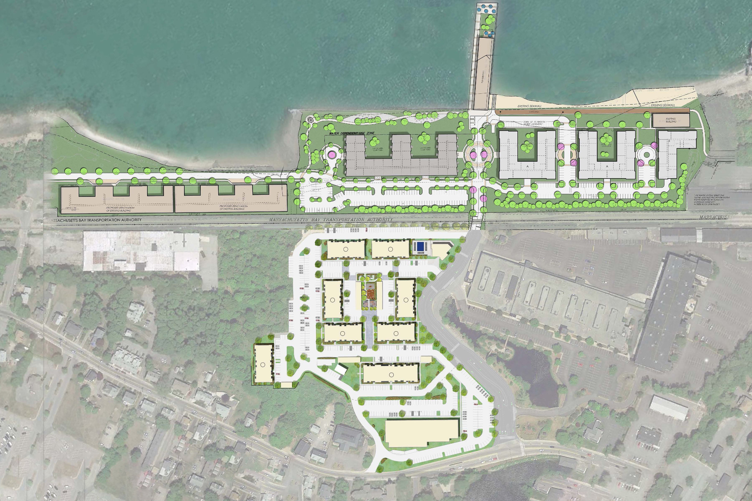 Waterfront & New Apartments    DEVELOPMENT SITE - Plymouth, MA    Master planned redevelopment of 55 acres located at the Plymouth train station on Plymouth Bay