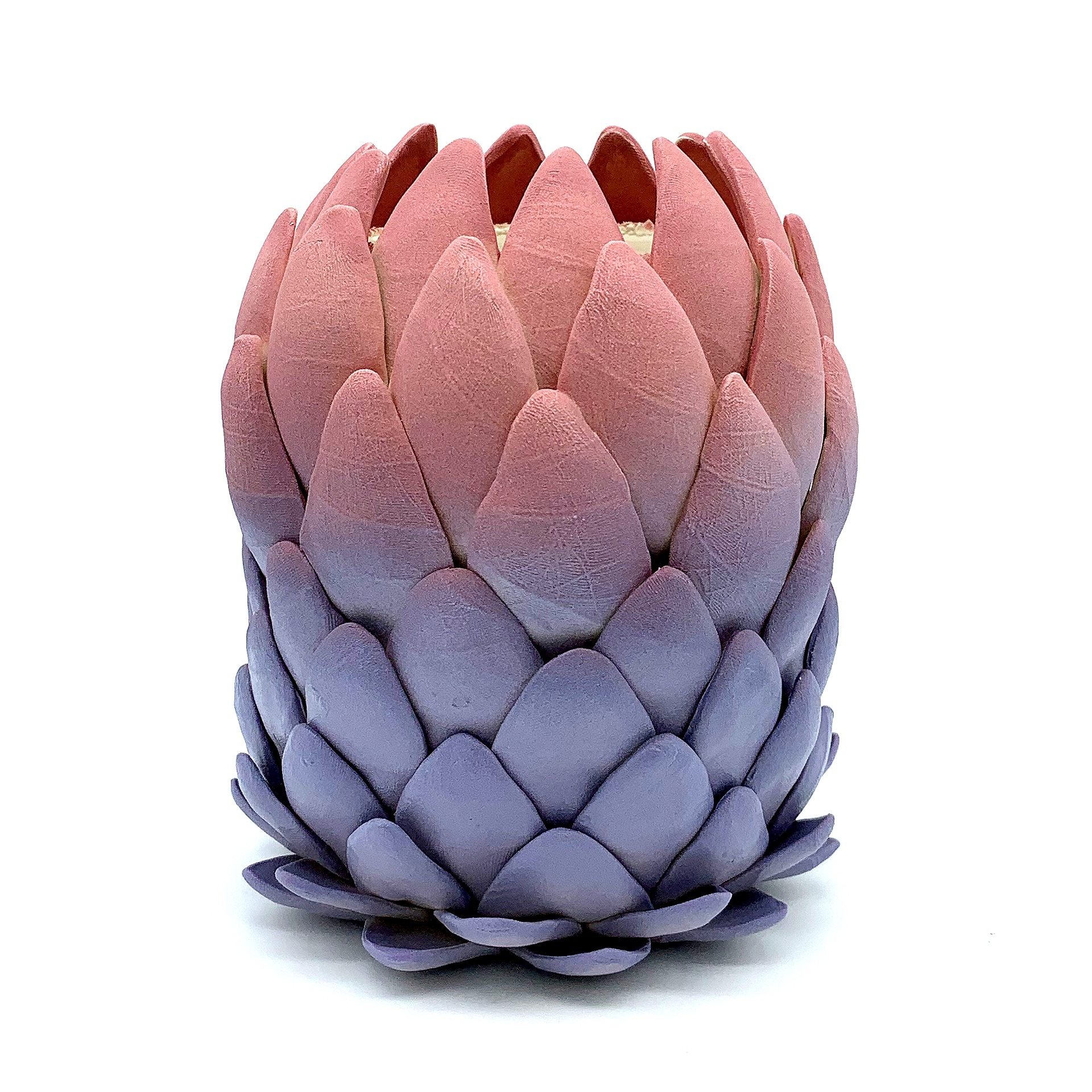 "Mink Protea Hybrid - 7""x4.5""x4.5""Porcelain, Underglaze, Glaze, FlockingCone 5 Oxidation2019"