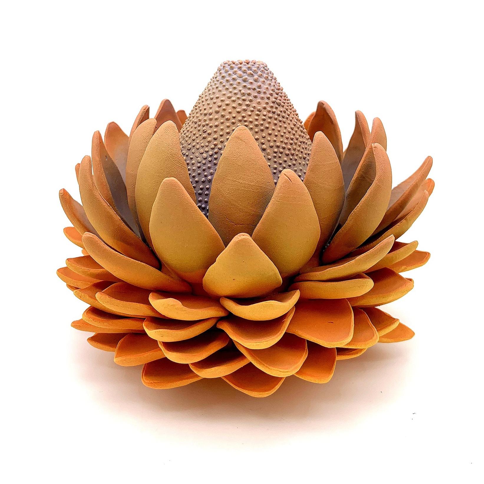 "Protea/ Cone Flower Hybrid - 6""x7""x7""Porcelain, Underglaze, ClearCone 5 Oxidation2019"