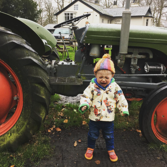 it's the end of the world coz he wasn't allowed on the tractor, full on screaming like a wild beast!! So he LOVES tractors, who knew?! 💥