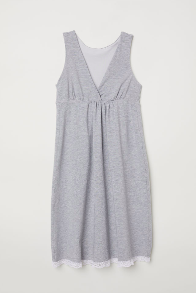 H&M dress  in soft organic cotton jersey with a lined top and wrapover front for easier nursing access - took me ages to find something good! I would definitely have worn this in labour :)