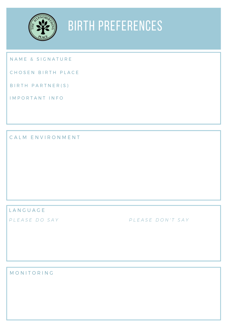 hypnobirthing birth plan template download 1