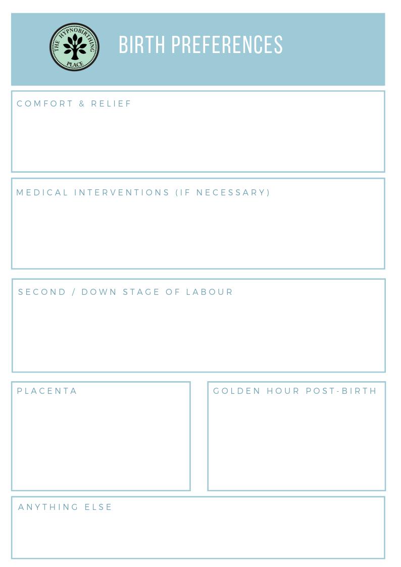 hypnobirthing birth plan template download 2