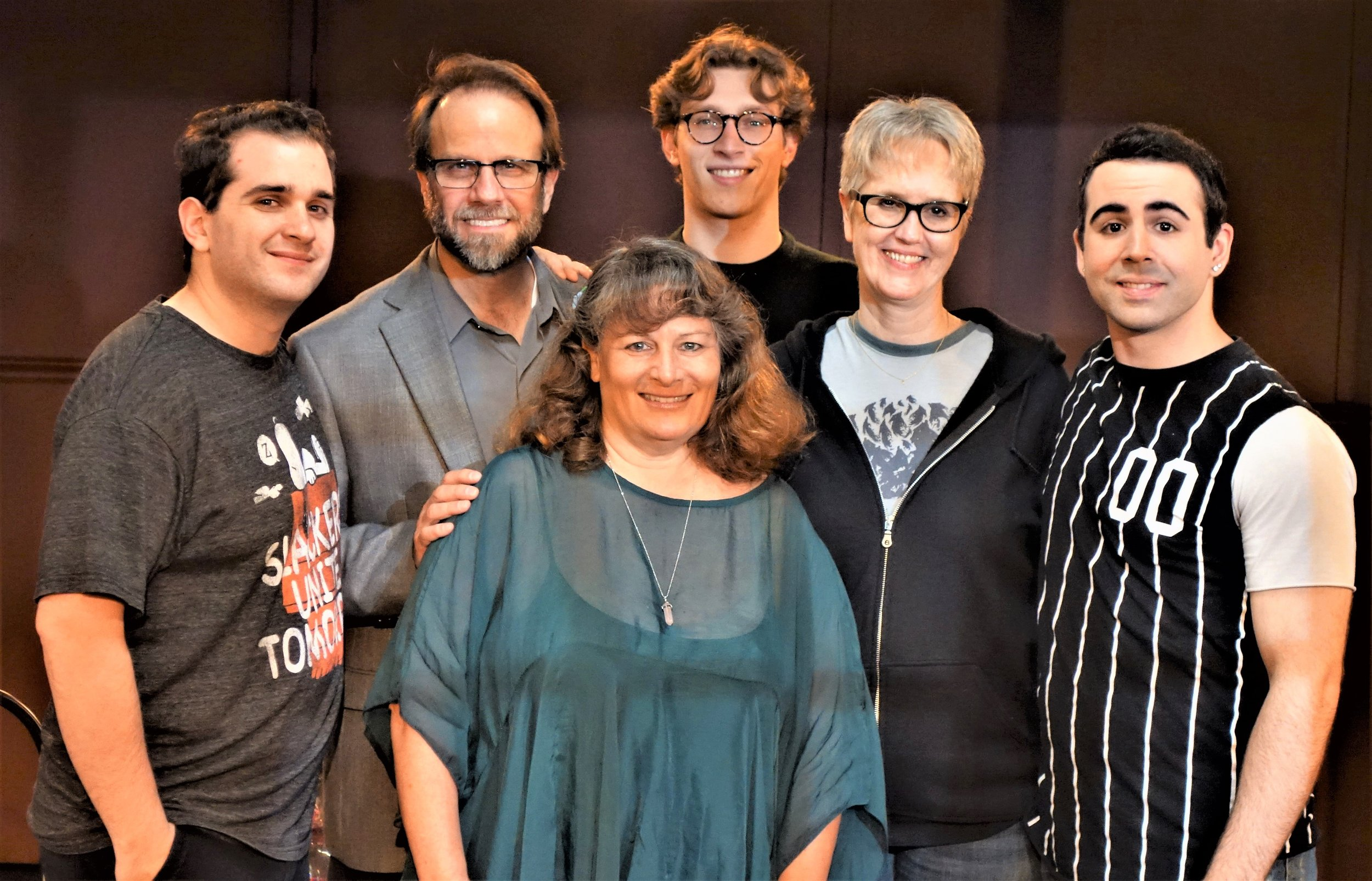 Arianna Rose (playwright, center) with the cast of FAMILY BY NUMBERS:  Father:  STEVE AYLE   Mother:  LINDA MAY   Oldest Son:  DYLAN ROBERT POULOS   Middle Son:  STEVEN UIHLEIN   Youngest Son:  RYAN SCHAEFER   Directed by  JEFFREY SANZEL