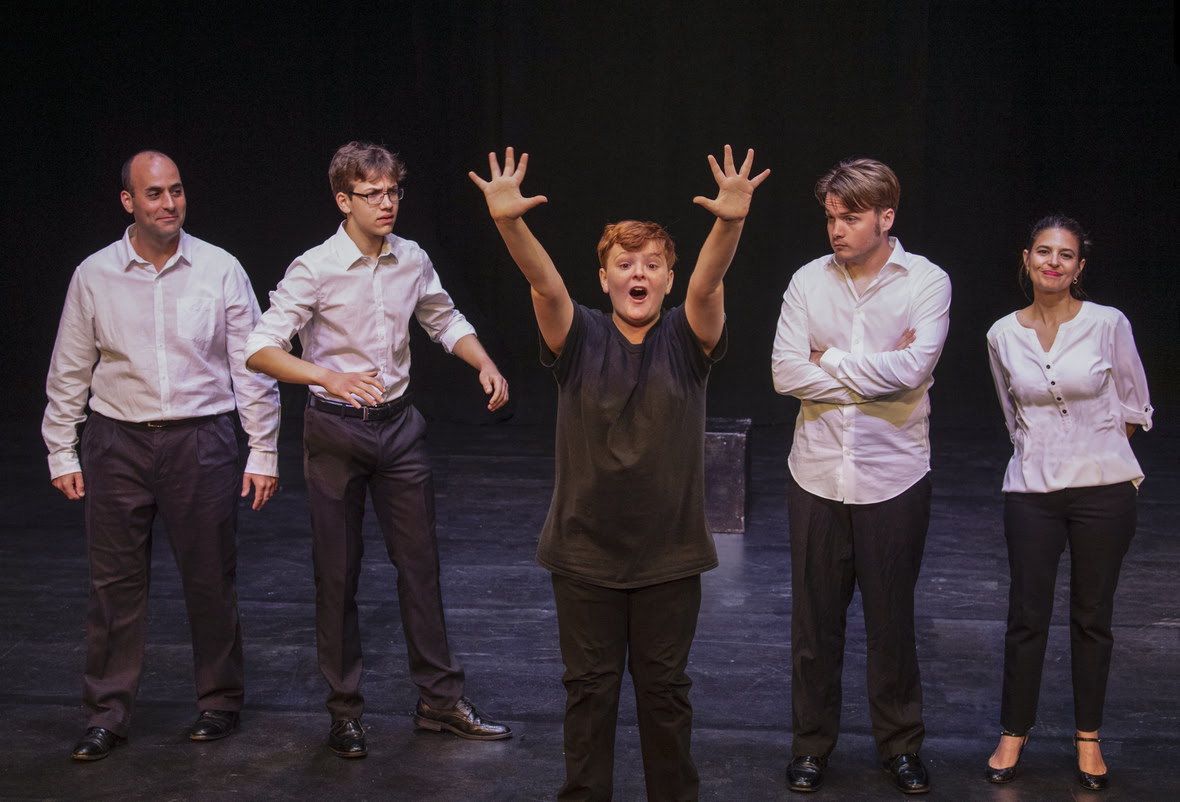 Family by Numbers, Theatre Odyssey 10-Minute Play Festival, Sarasota FL May 2019. WINNER BEST PLAY IN FESTIVAL. Scott Ehrenpreis (FATHER), Ricky Bizarro (MIDDLE SON), Tyler Gevas (YOUNGEST SON), Ren Pearson (OLDEST SON), and Julee Breehne (MOTHER). Photo by Cliff Roles.