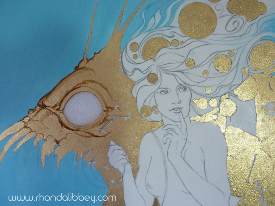 After I transfer the sketch to the surface I am working on I lay down all of the gold leaf that will have paint blended on top of it. Then I get to the business of underpainting and layer upon layer of color I work to the finish from there. I typically paint in thin glazes of color.