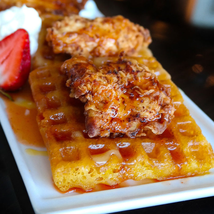 Our Chicken and Waffles. A delicious part of our Nightclub Menu at E11EVEN Miami
