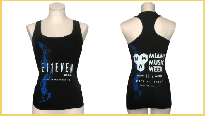 Miami Music Week Tank Top in Black for Women by E11EVEN Miami
