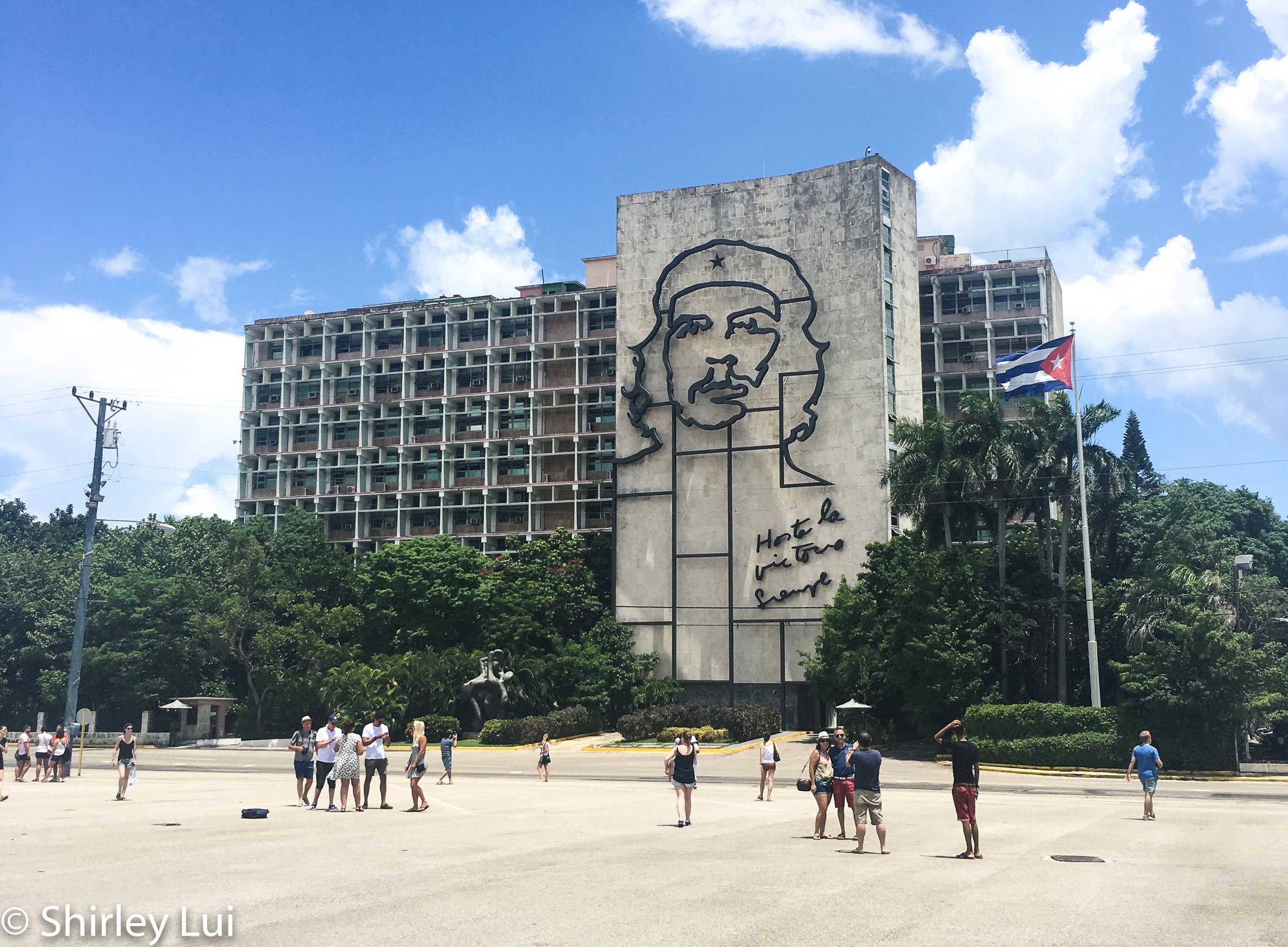 Steel memorial of revolutionist Che Guevara at Revolution Square in Havana, Cuba.