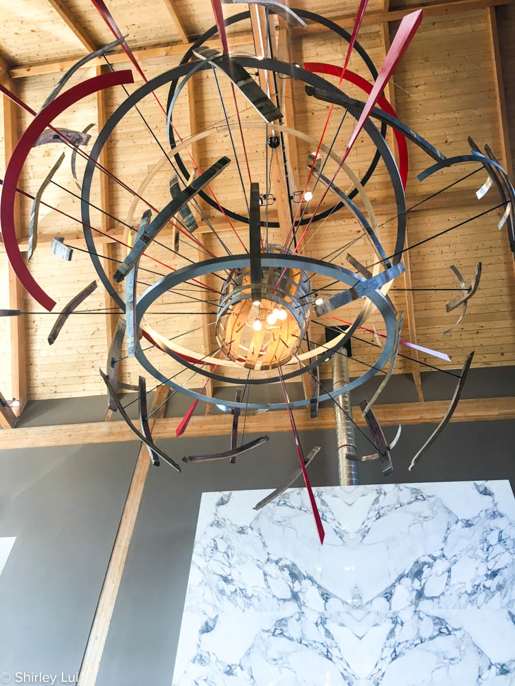 Barrel chandelier inside Adamo Estate Winery in Mono, Ontario