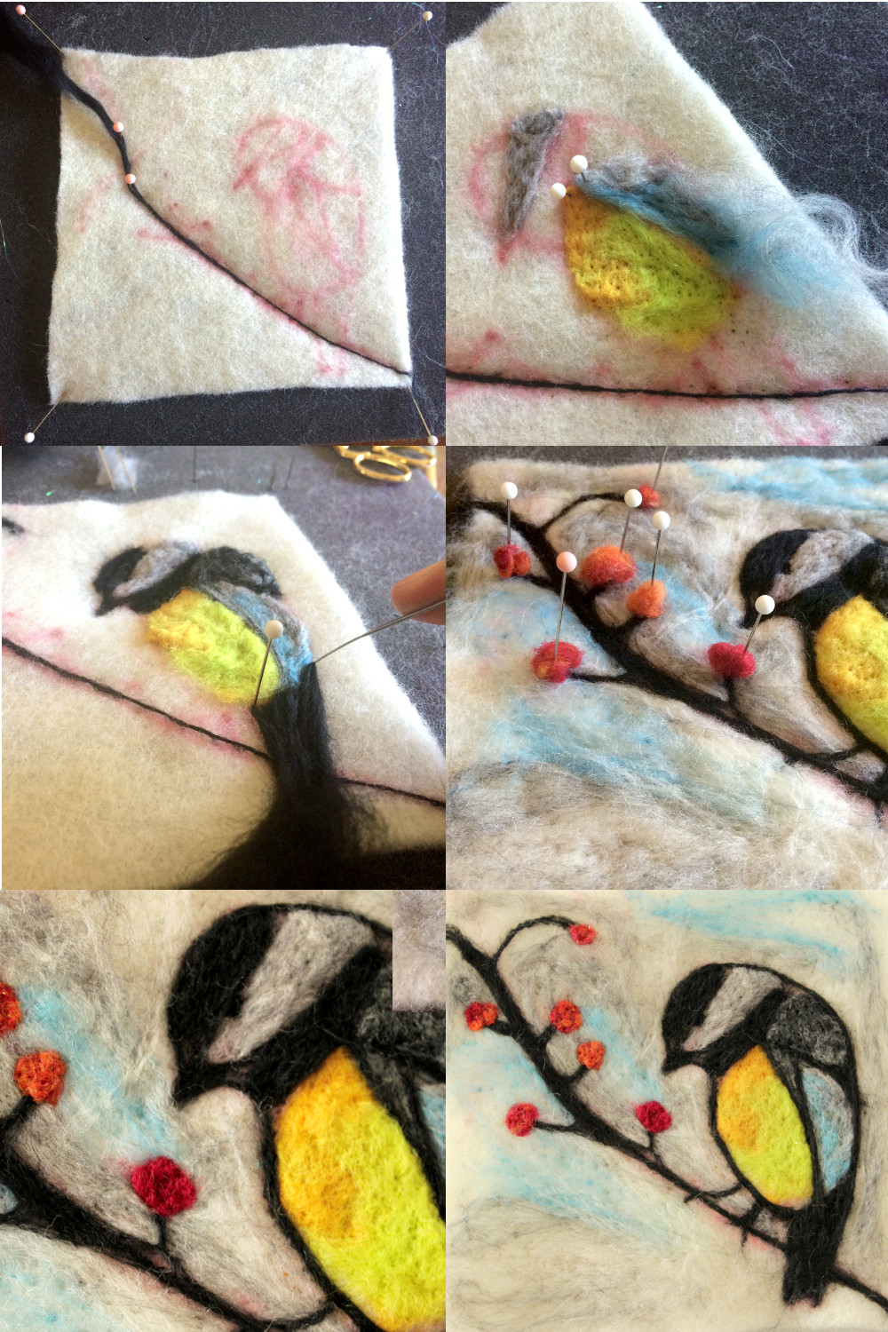 Chickadee - Wool painting (flat needle felting)