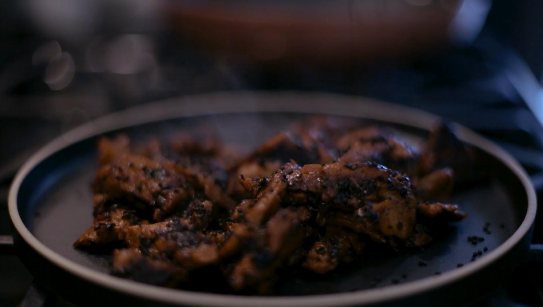 Spicy Cherry Barbecued Sesame Seitan