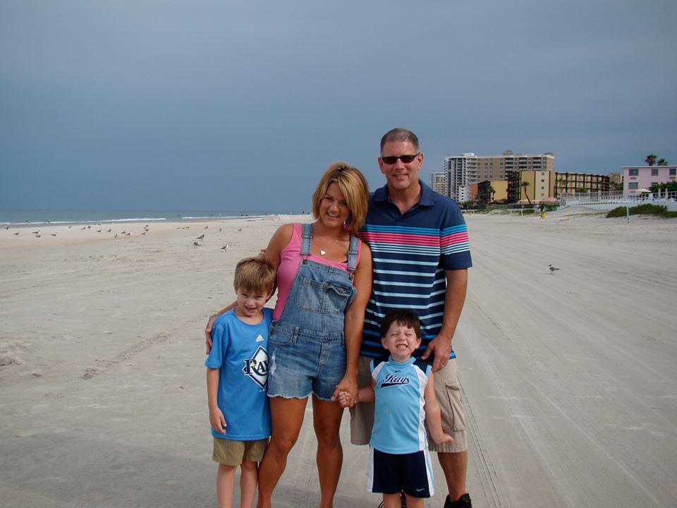Jim, Danielle, Luke (8) and Zeke (6). Photo taken at Daytona Beach, 2015.