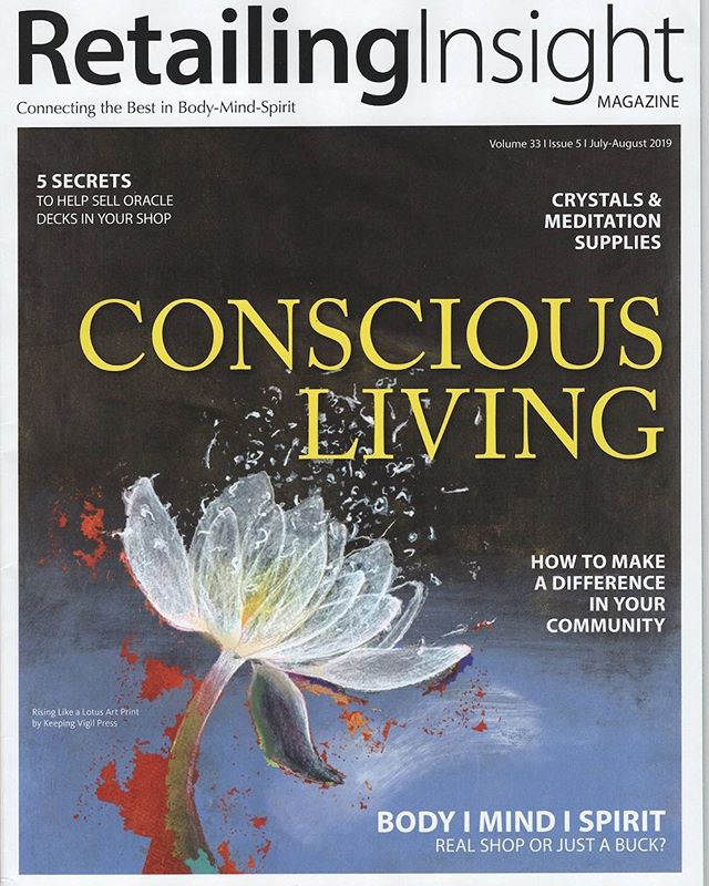 ! Happily, artwork of card selected for magazine cover. #magazine cover #card #conscious living #retailing insight magazine #rising like a lotus card #july-August #trade magazine