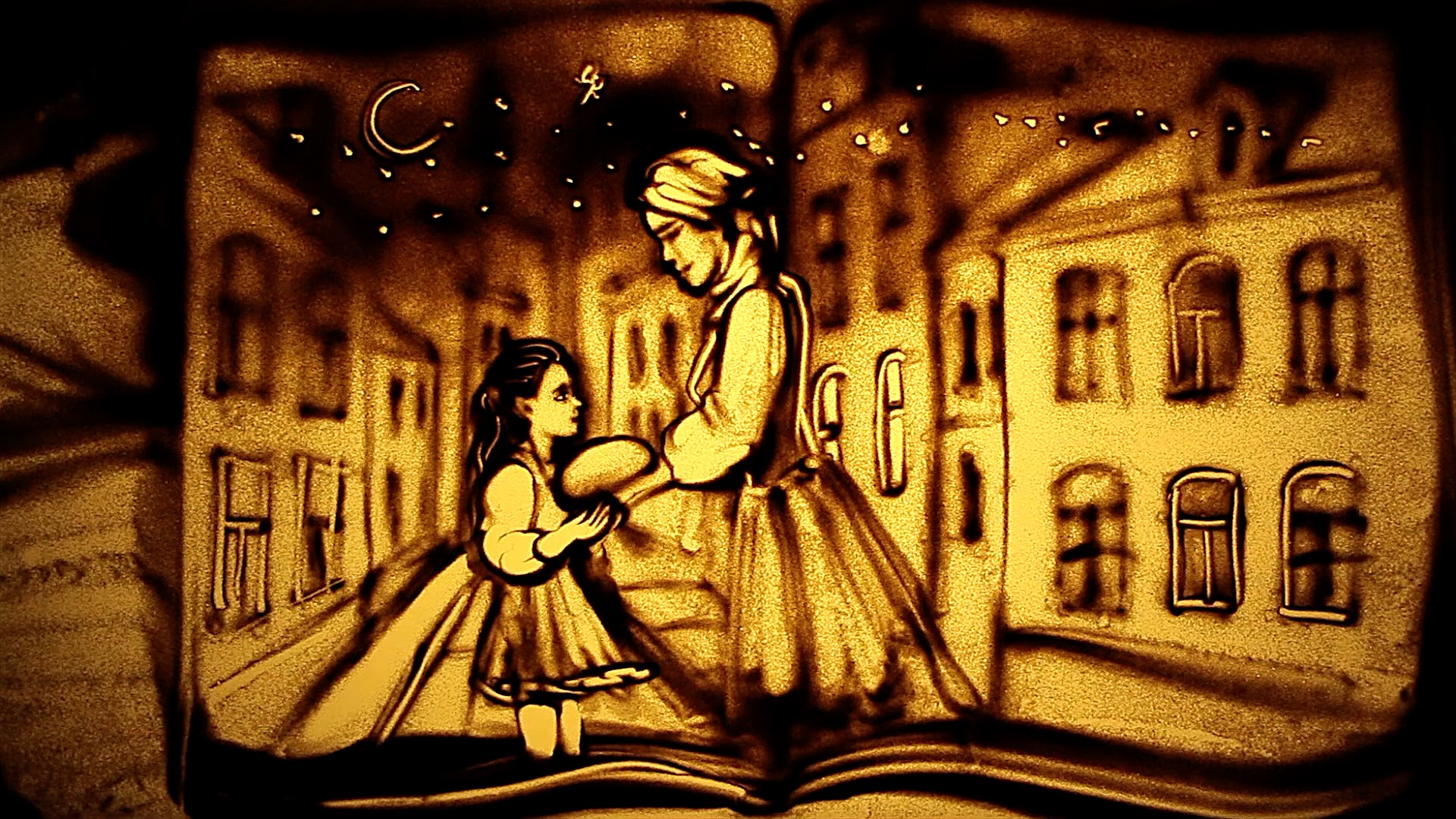 A stranger is kind to the girl, shown in book of memories(*), La Galana.jpg
