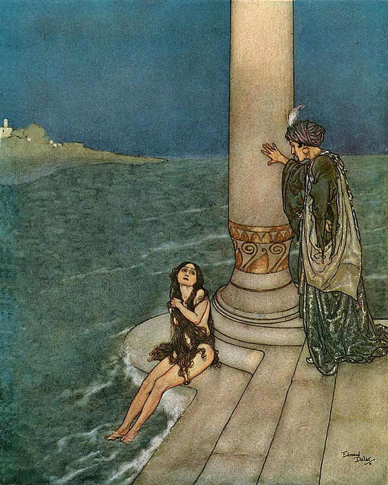 The Little Mermaid is found by the Prince—by Edmund Dulac.
