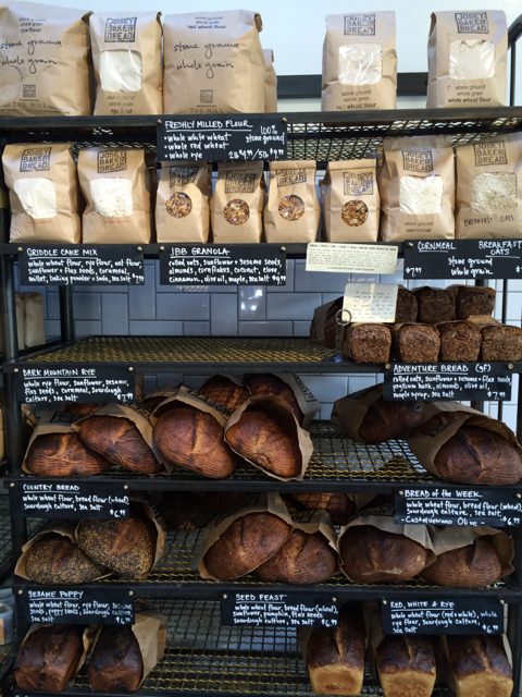 The bread rack at Josey Baker Bread at The Mill, San Francisco