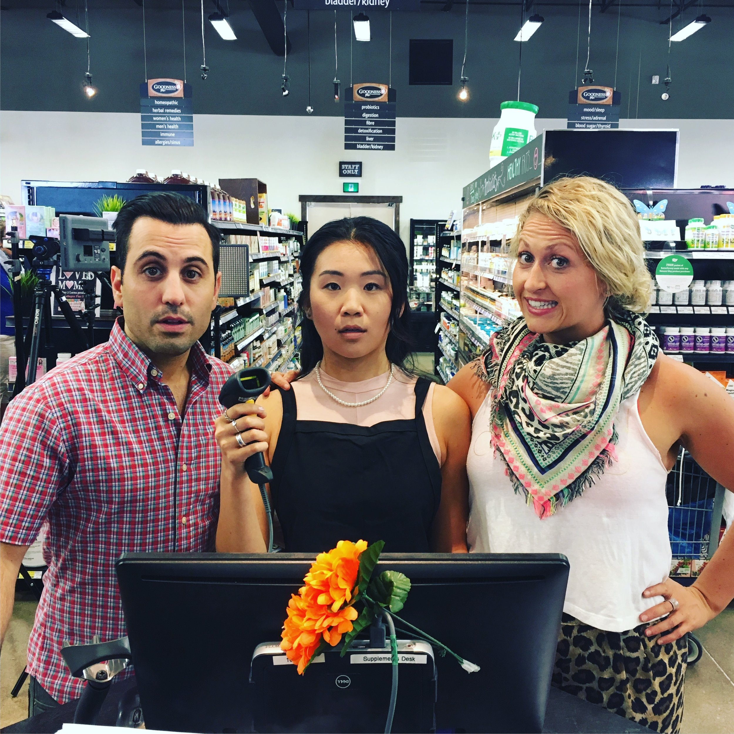 Wholesome Foods, I Love You... Is That OK? cast members Daniel De Santo, Connie Wang, and Krista Hovsepian