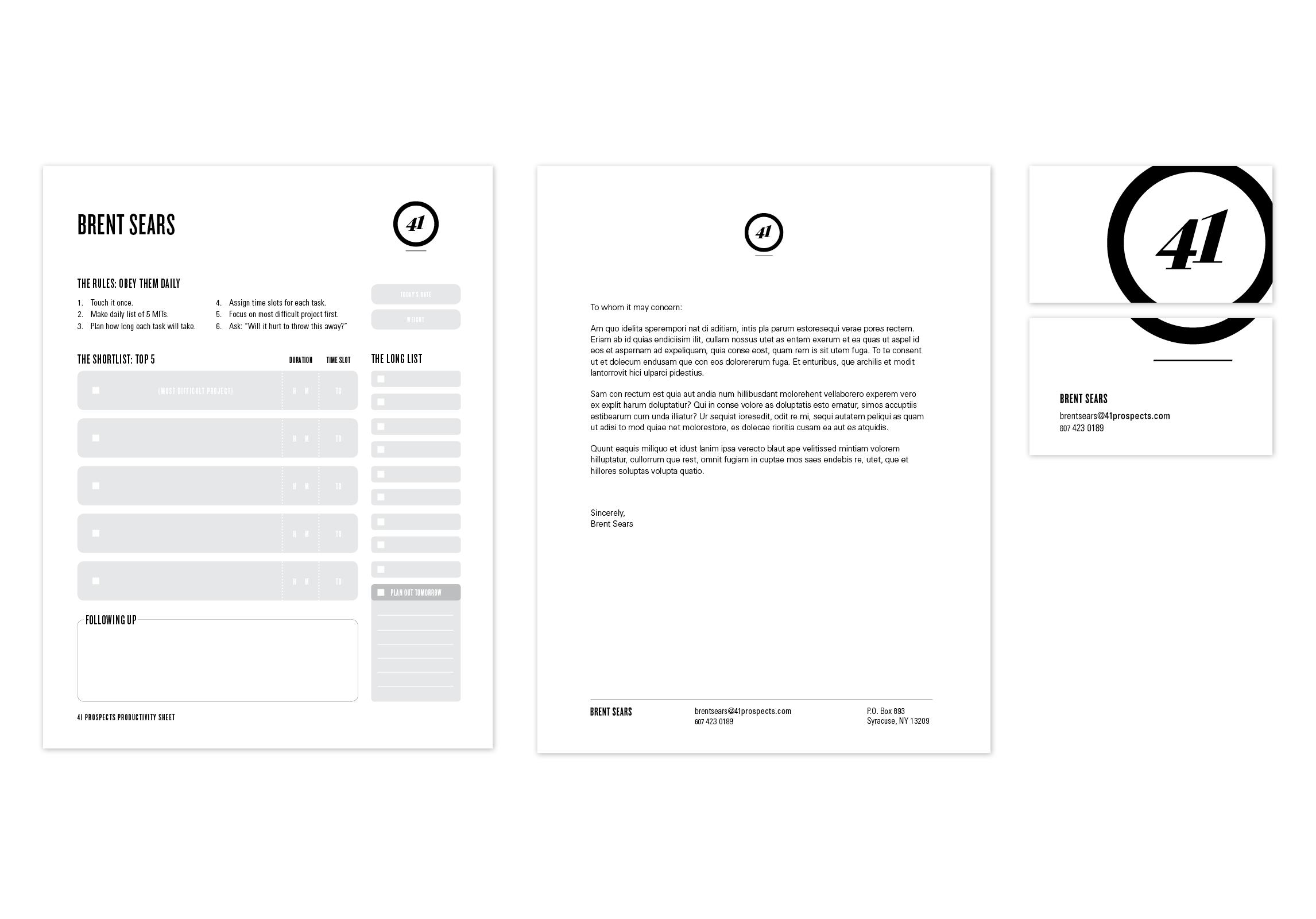 41 prospects stationery kit