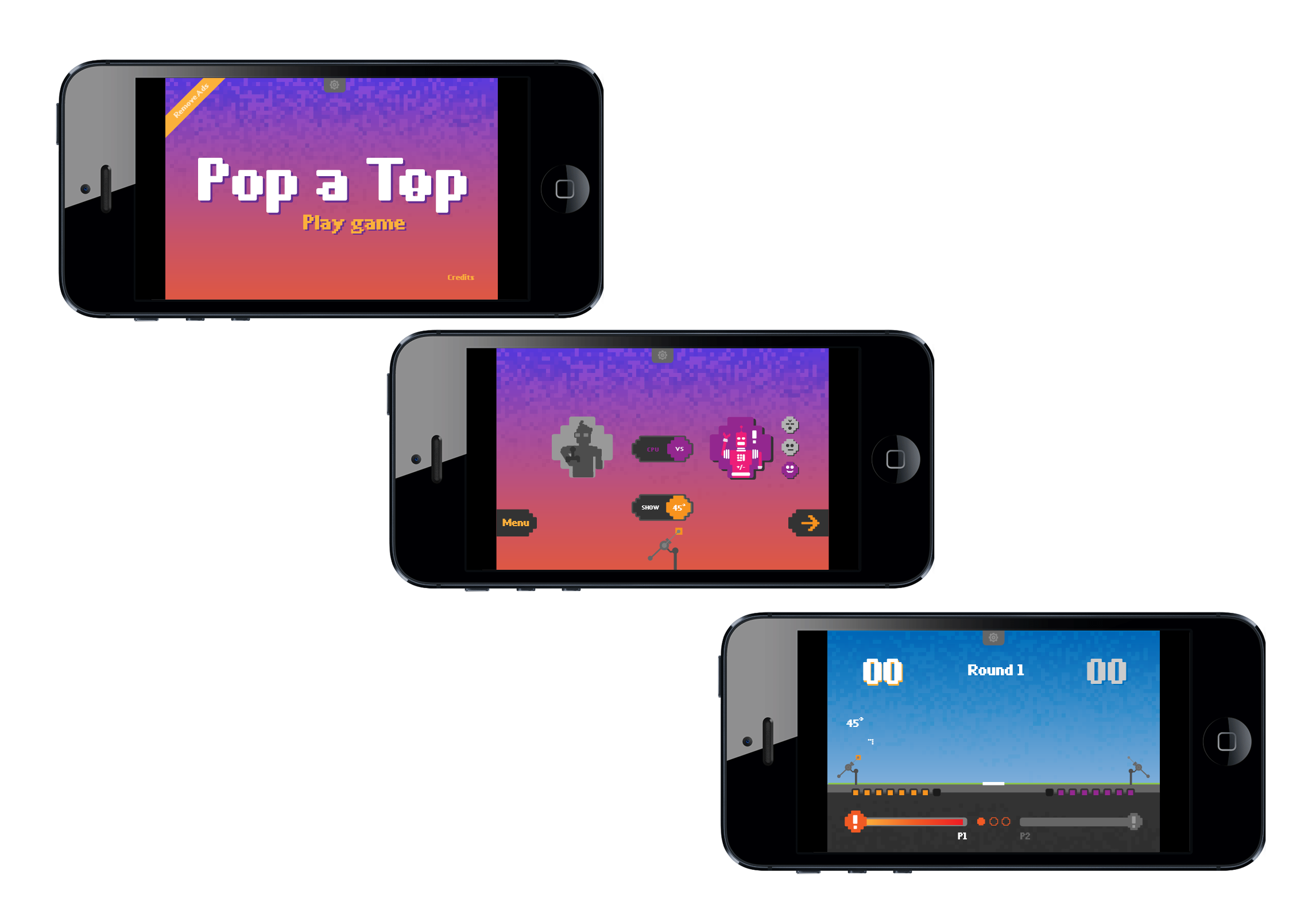 """pop-a-top"" mobile game interface and visual styles"