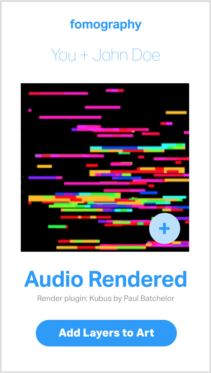 A screen grab from the wireframes, showing the option to render an audio-driven artwork from a shared conversation's audio waveform. Click image to launch fullscreen demo.