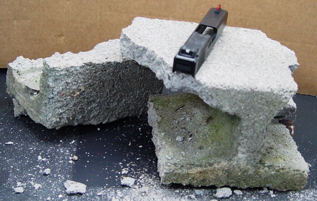We used this rear Pro-Sight to destroy the cement block above...