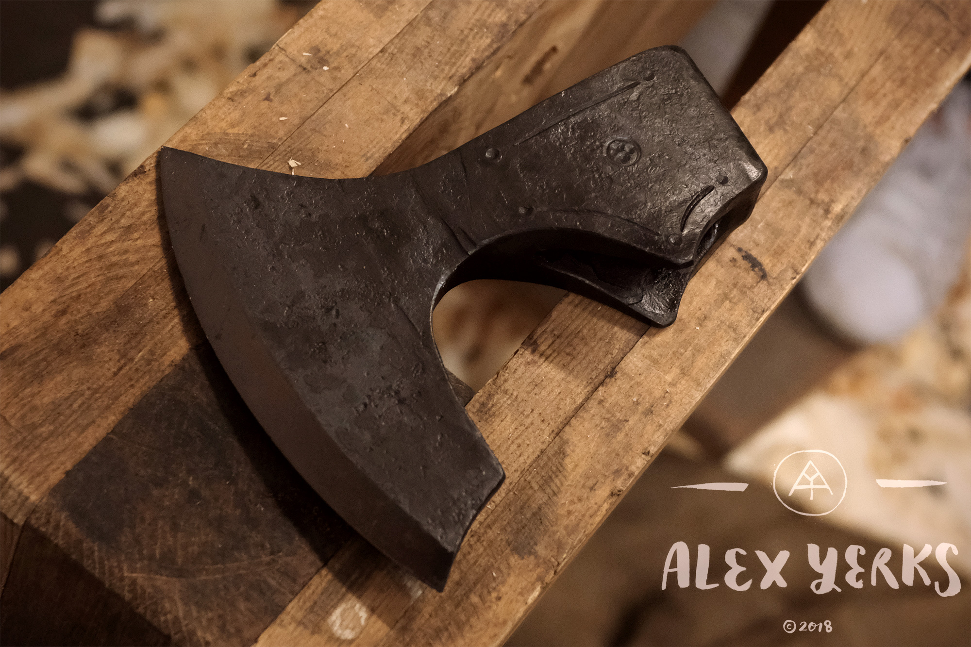 I wanted to modify the grind on this axe with a special inside grind I am really into.
