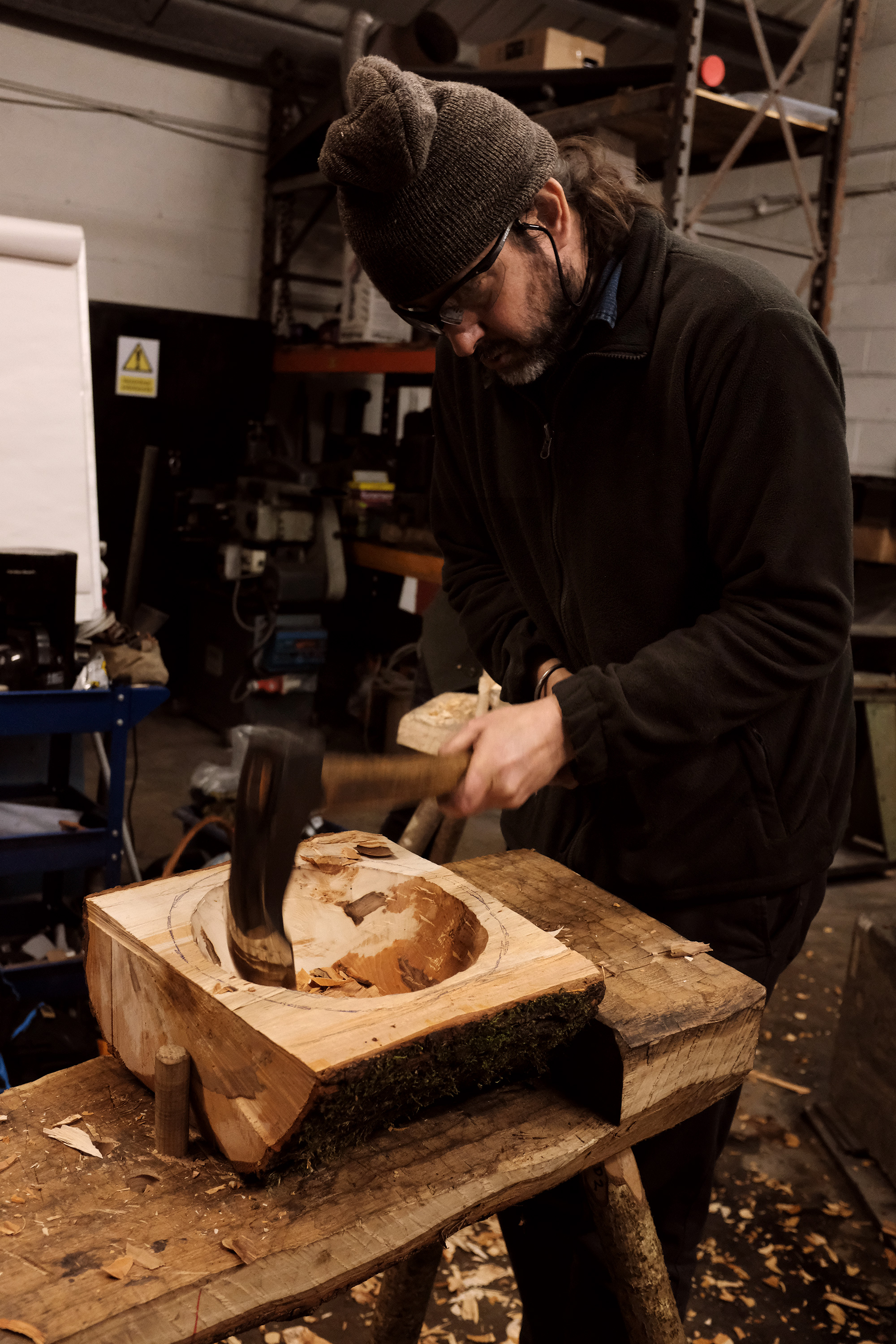 Nic had to make adze handles, hang them, and also catch up on some sharpening hook orders. So we took turns on this big bowl.