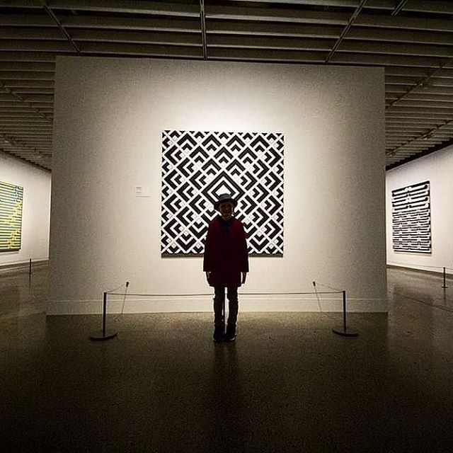 Makes child stand in front of art.  #cultured #art #tepapa #gordonwalters #artwithkids #carveouttimeforart