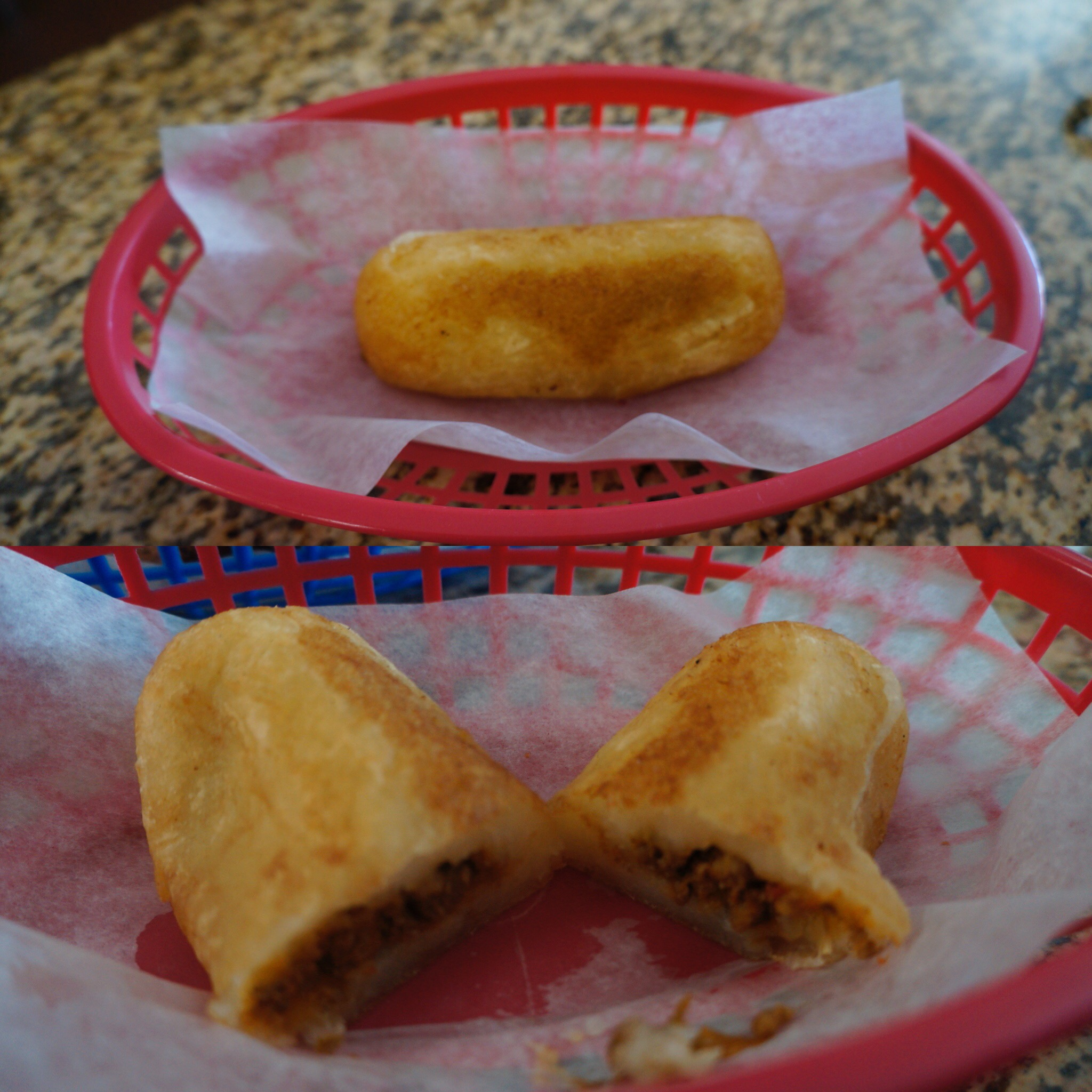 Yuca Rellena : mashed yuca filled with seasoned Cuban Style ground beef and fried