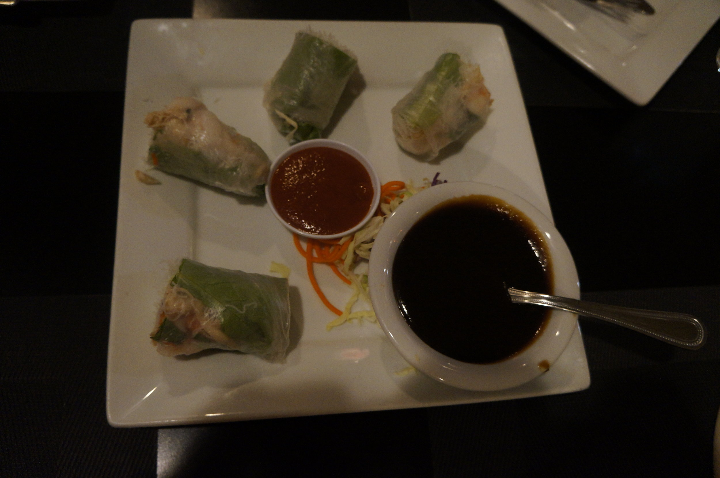 Fresh Summer Rolls - Two rice paper rolls with chicken, shrimp, rice noodles, mint, cucumber & cabbage. Also available with tofu.