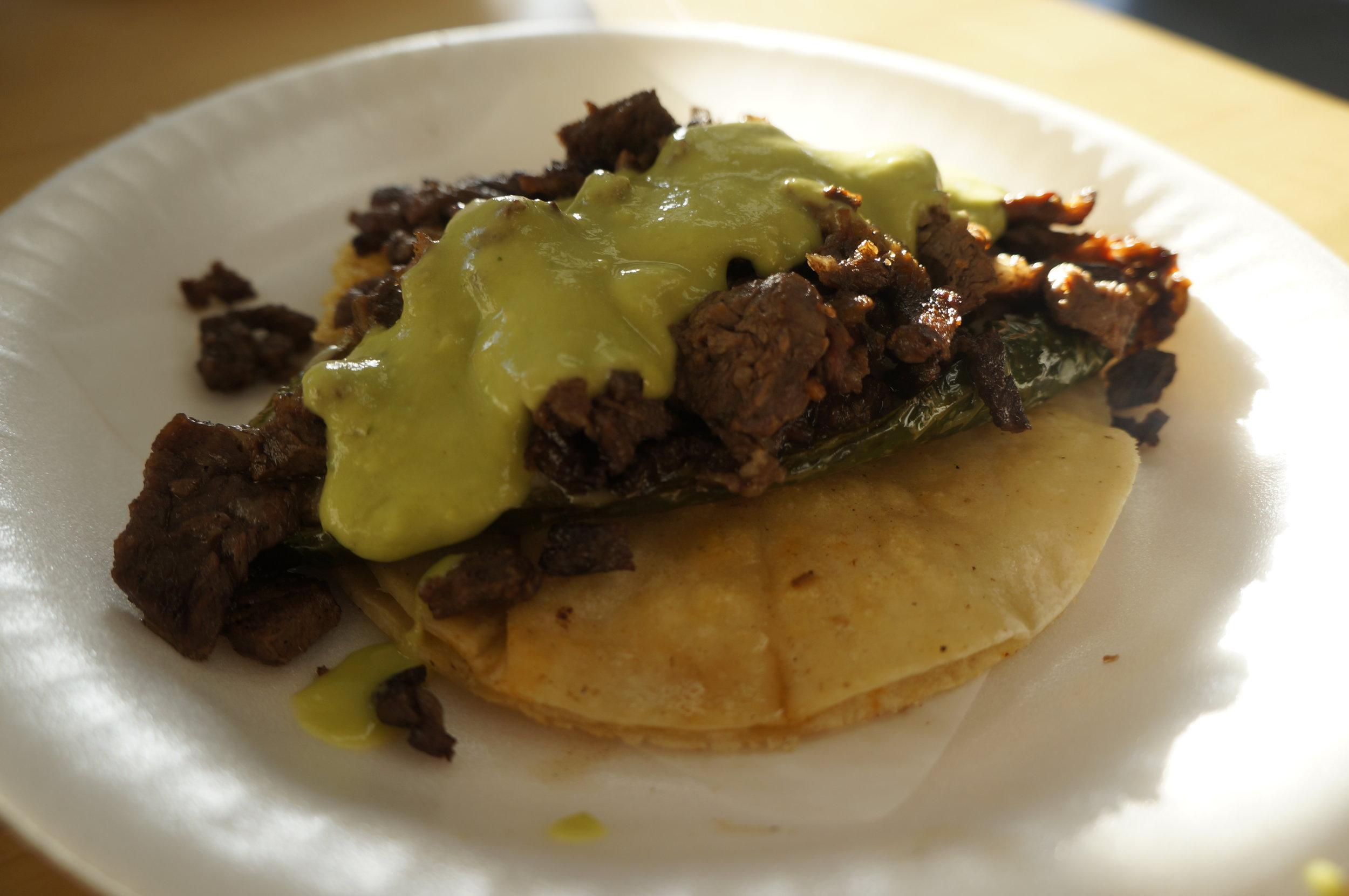 Taco Relleno — Asada, Chile Pasilla, Queso y Aguacate