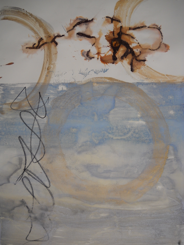 Anne Gorrick /  Untitled ,2018 /  Encaustic monotype, rust and graphite /  20 x 26 in.