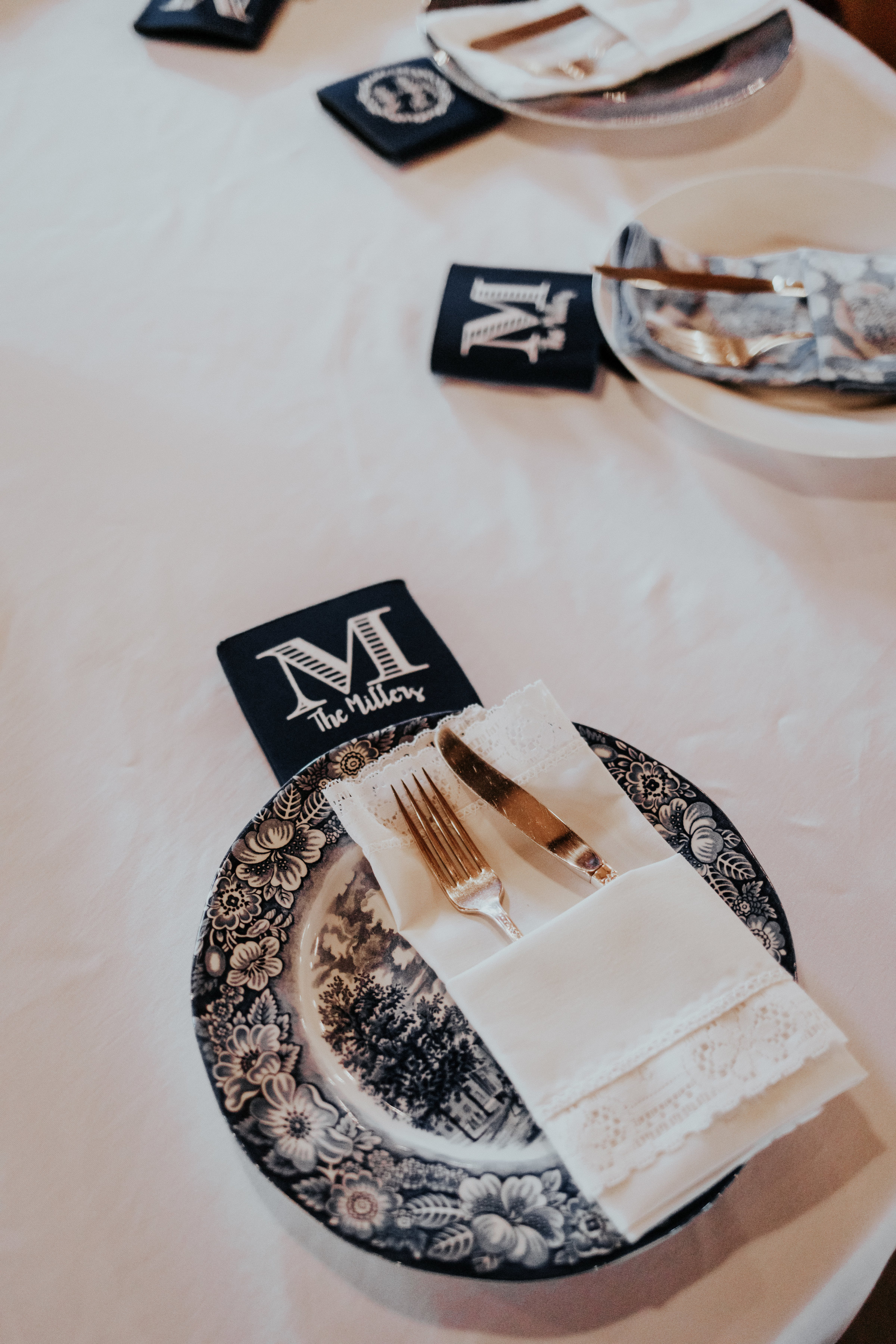 Every place setting was special and unique. White and blue mix matched plates came from family members along with the napkins and silverware.