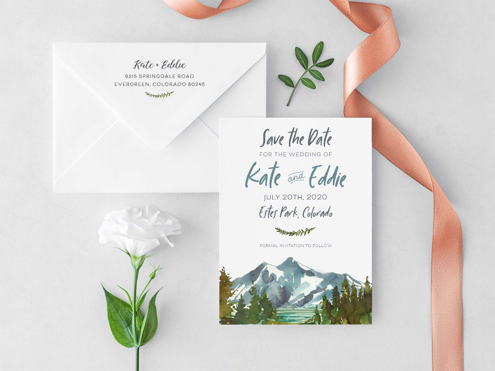 Mountain Watercolor Save the Date