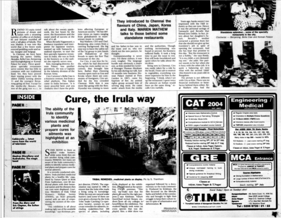 The Hindu Chennai , Cure, the Irula way, 2004