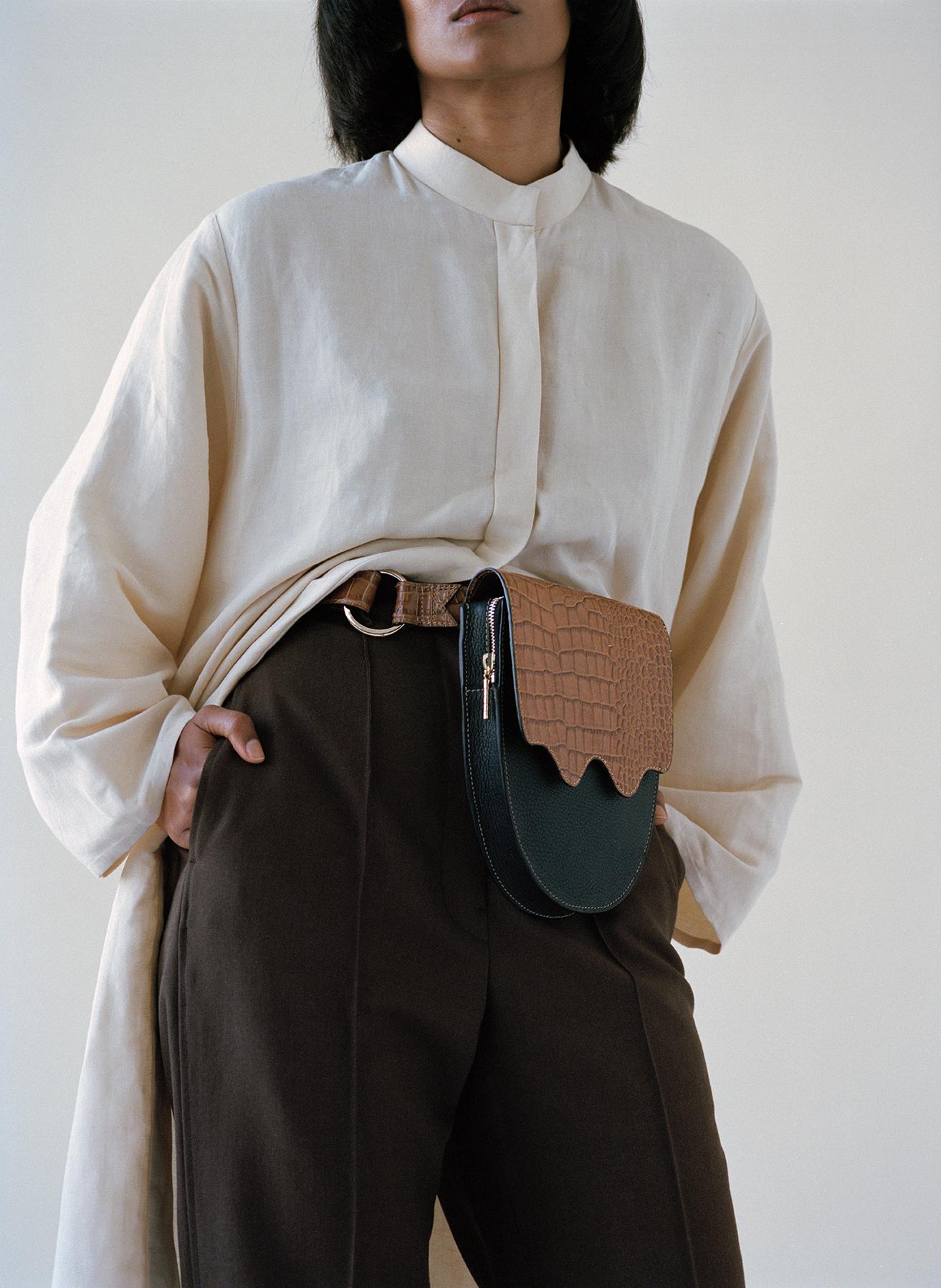 The  Palmetto belt bag in Brown Viper