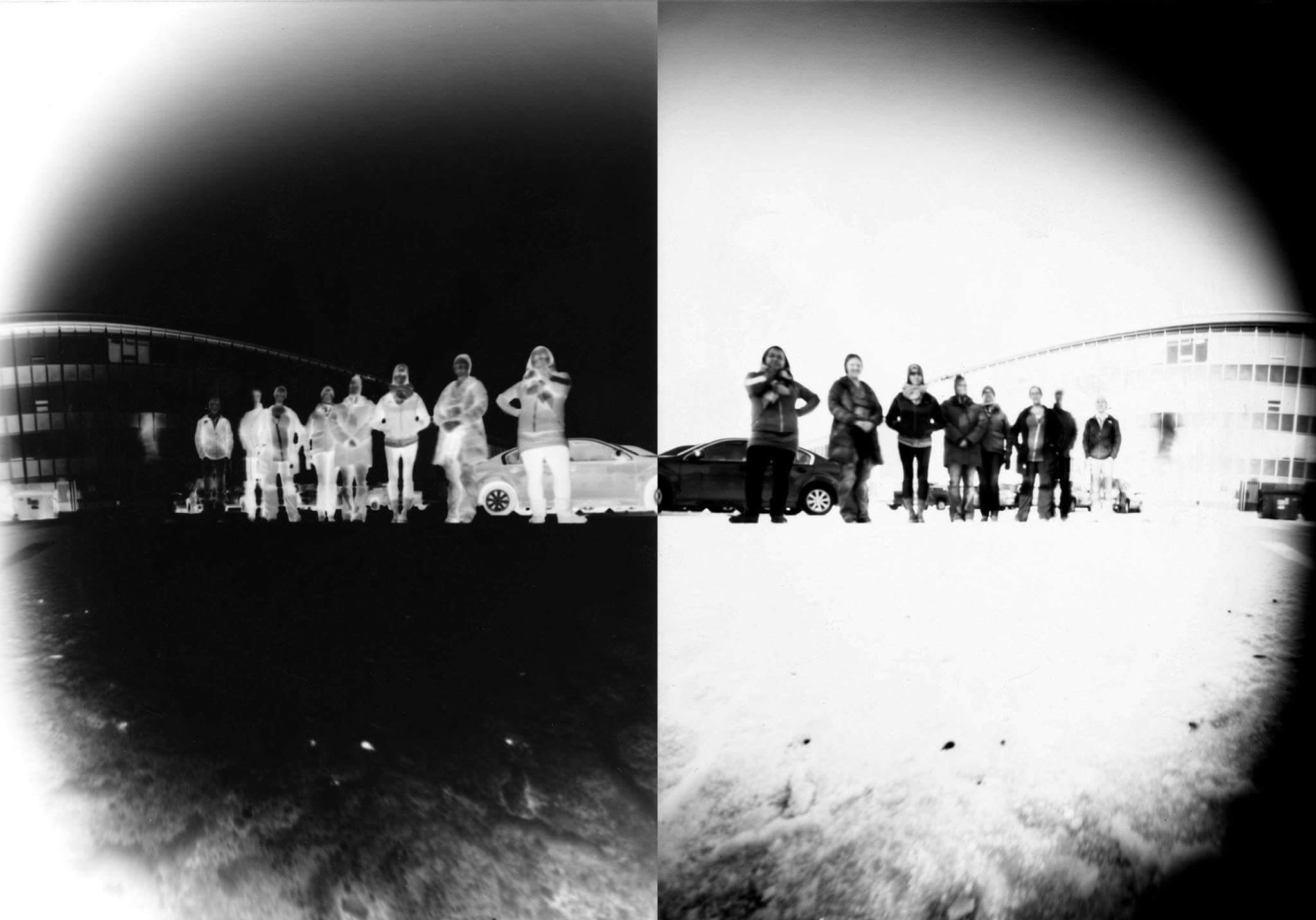 Group photo, pinhole, courtesy of J Jason Lazarus