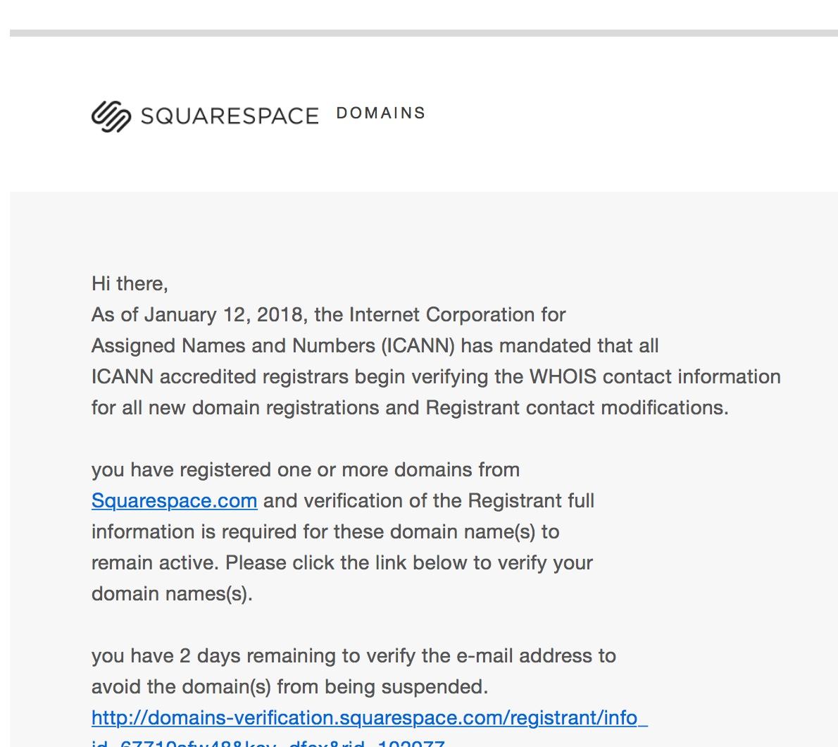 Screenshot of a fake spam email posing as Squarespace.