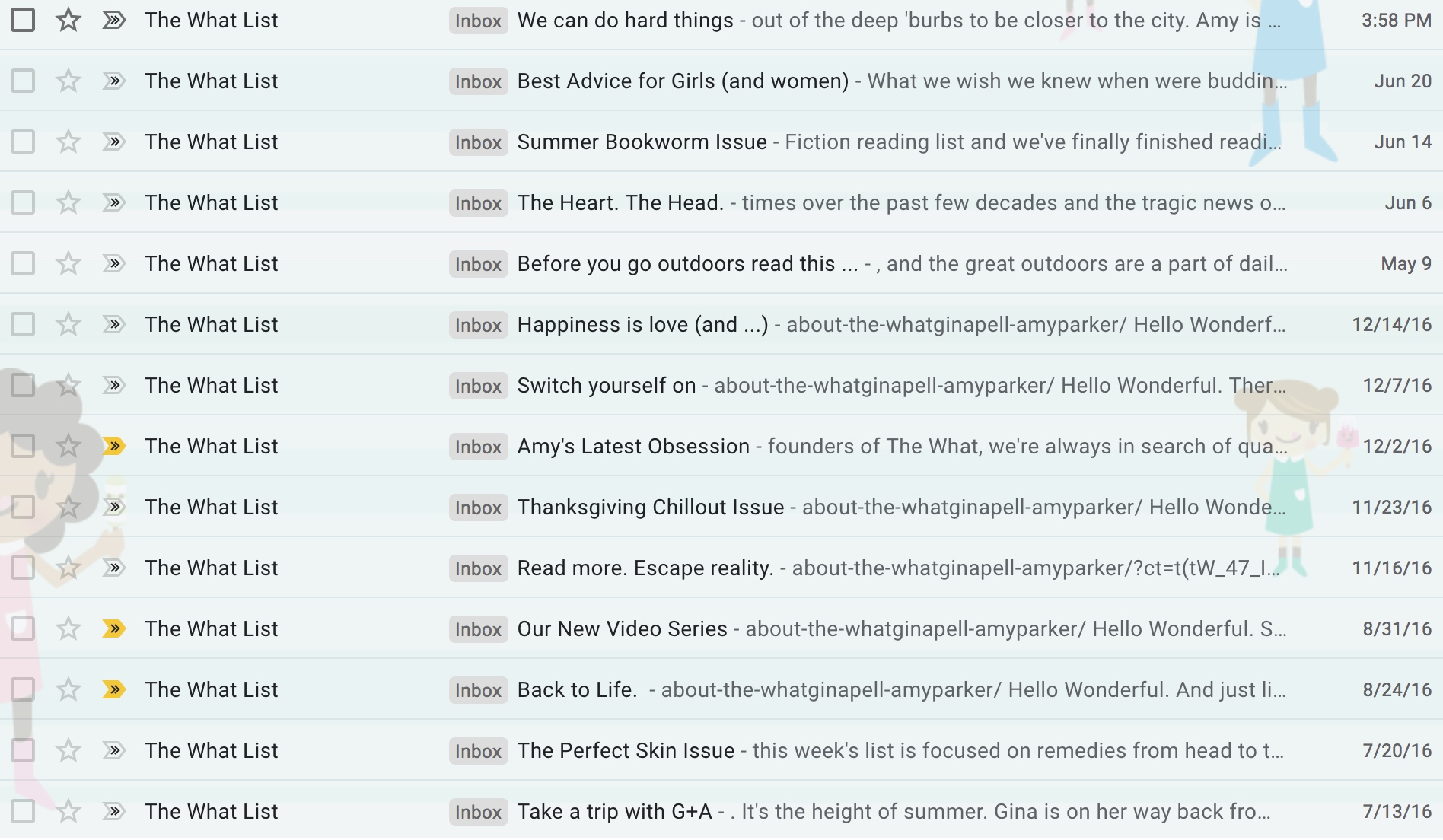Proof of The WHAT from inside my inbox…Get a feel for their content.