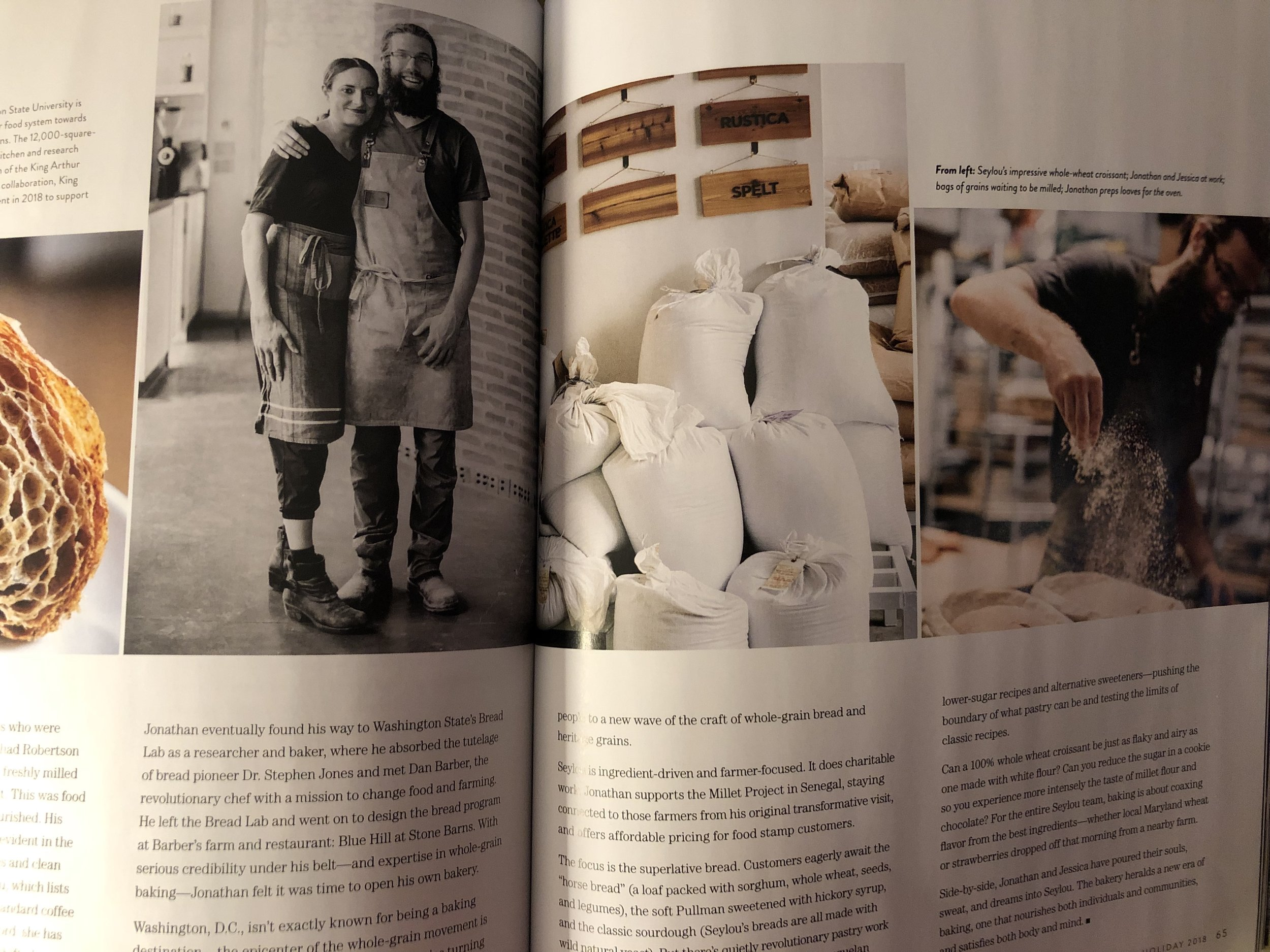 Featured in Sift's 2018 Holiday issue are Jonathan Bethony and Jessica Azeez. Jonathan attended The Bread Lab at Washington State University, of which King Arthur Flour is a supporter with their substantial endowment to the Bread Lab to help it continue for years.