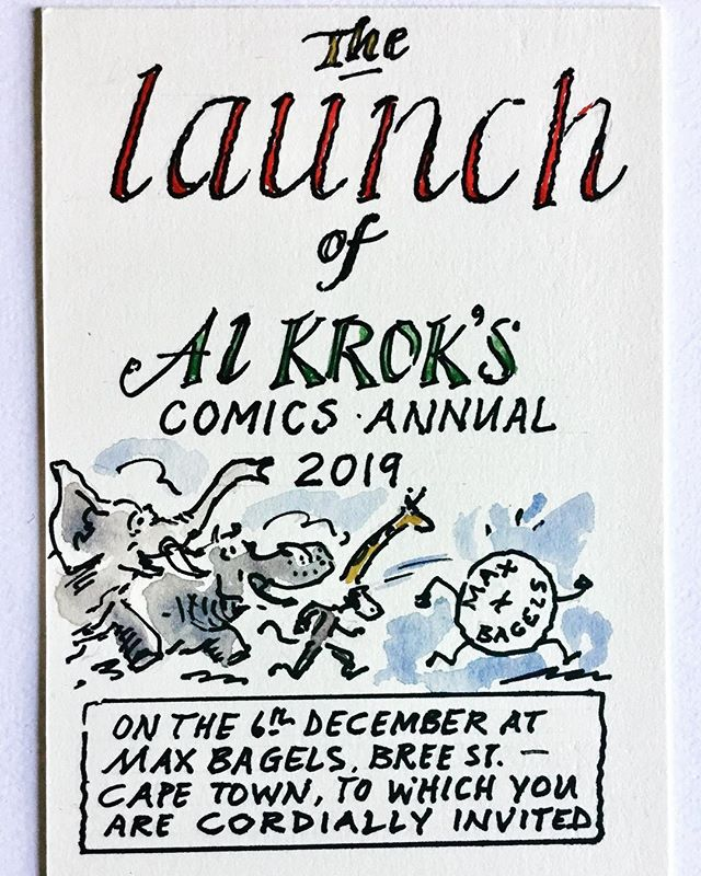 We're very excited to host legendary cartoonist @krok.al for the launch of his 2019 comic annual this coming @firstthursdays_za. The artist will be drawing live in store, selling originals and taking orders of the Annual. 6 Dec, from 6pm. #comics #cartoonist #alkrok #firstthursdays #exhibition #sale